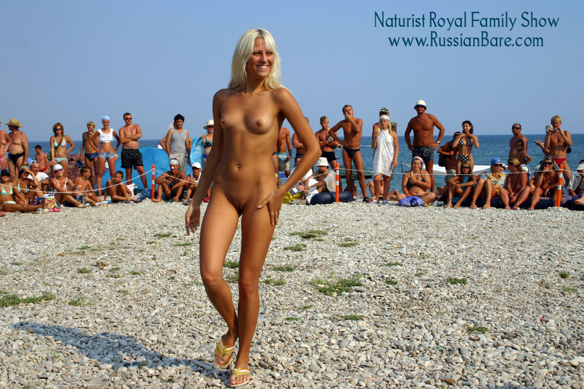 Nude family at beach