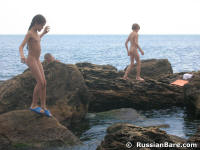 family at with boy Nudist beach